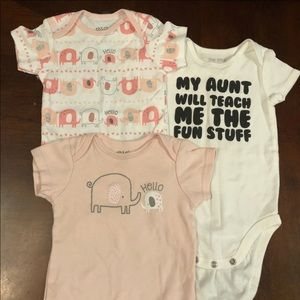 3 Cute Baby Girl Onesies size 12 Months
